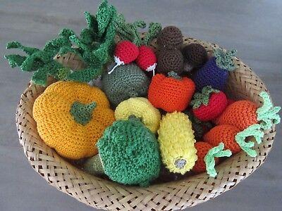 10% RABATT 14 tlg Kaufmannsladen Kinderküche Kaufladen gehäkelt  Gemüse