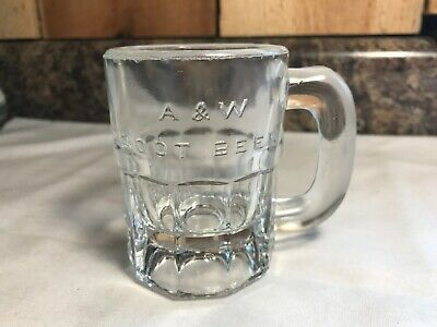 Vintage Embossed A&W Root Beer Small Thick Glass Mug