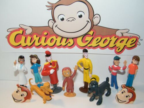 Curious George  Figure Set of 10 with 2 Fun Rings Includes George and Many More