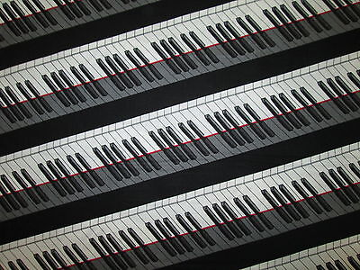 PIANO KEYBOARD MUSIC RED LINE BLACK WHITE COTTON FABRIC FQ for sale  Shipping to India