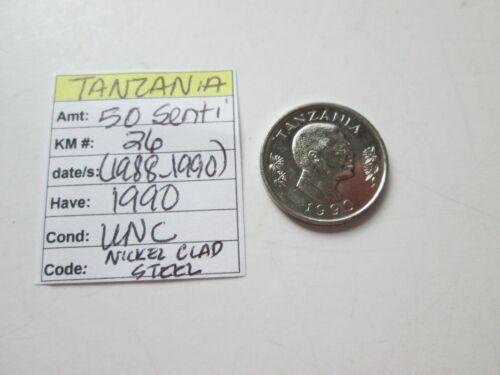 TANZANIA,   50 senti, 1990, KM 26, (1988-1990),  UNC