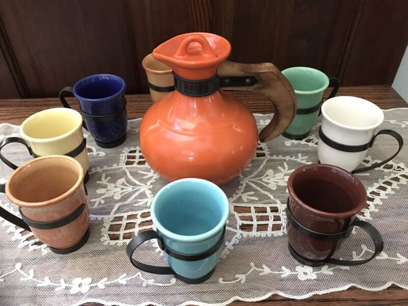 Vintage Franciscan Gladding McBean El Patio Coffee Carafe With 8 GMB Mugs, Rare