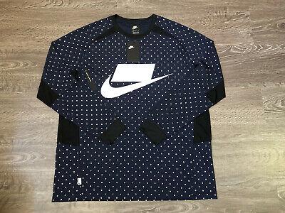 Nike NSW Sportwear Knit Long Sleeve Top Shirt Obsidian Polka Dot $75 930325-451