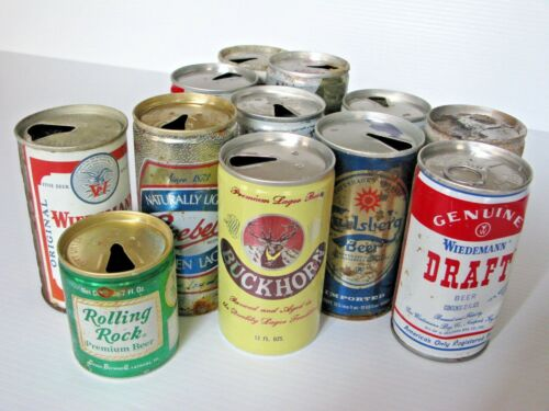 Lot of 12  Vintage Pull Top Beer Cans