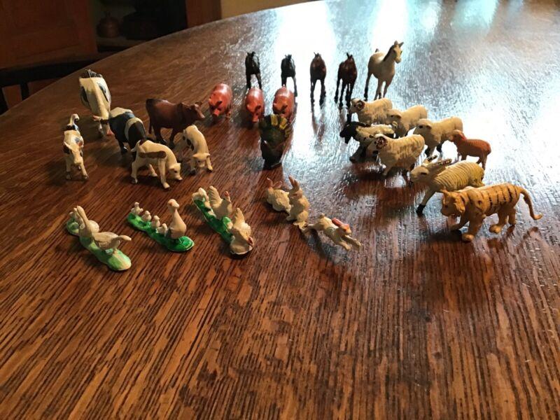 Lot of 25 Vintage Micro-Miniature Rubber North American Farm Animals