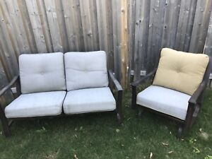 Outdoor love-seat and chair