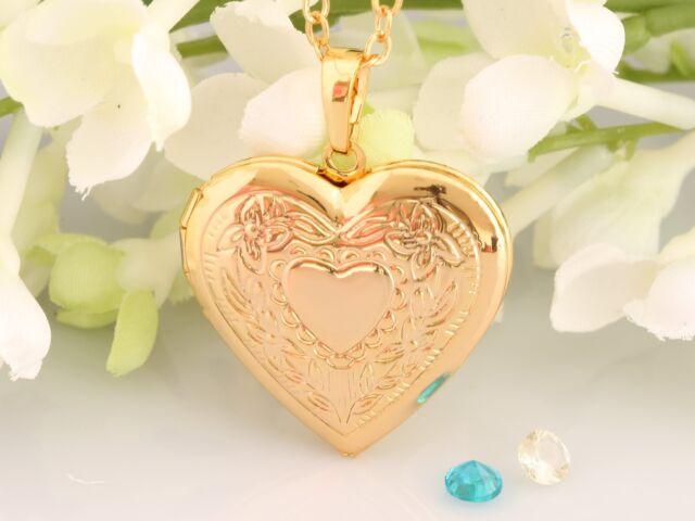 Gold heart locket hinged insert photo memory pendant necklace gold heart locket hinged insert photo memory pendant necklace chain 18k gp aloadofball Gallery