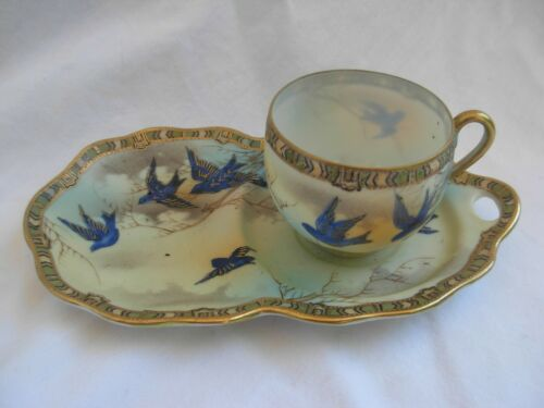 ANTIQUE ASIAN HAND PAINTED PORCELAIN CUP AND SAUCER,SIGNED,EARLY XX CENTURY.