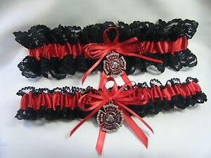 FIREFIGHTER  Wedding Garter set Lace Black and Red Garters firefighter emblem