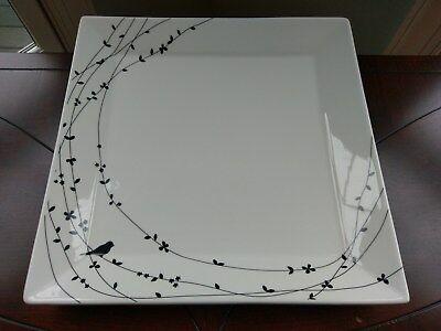 Ciroa Oiseau Porcelain Square Platter Large Serving Plate White Black Birds Vine Porcelain Square Platter