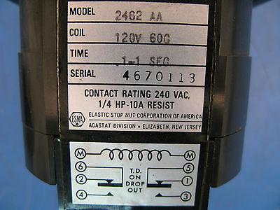 Esna Agastat Variable Time Delay Relay 2462aa Coil 120vac .1-1 Sec.
