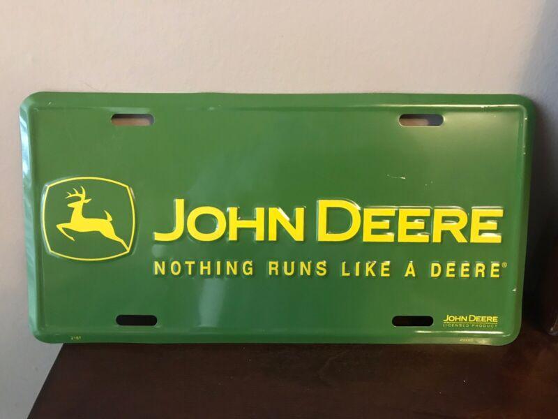 "John Deere Tin Metal License Plate Sign 12""x6"""