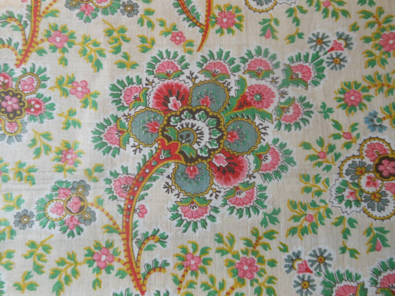 Antique English Jacobean Floral Paisley Chintz Fabric~Red Pink Green Yellow~