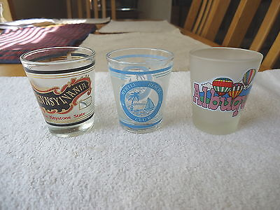 """Set of 3 Frosted Glass Type Of Shot Glasses """" AWESOME COLLECTABLE SET """""""