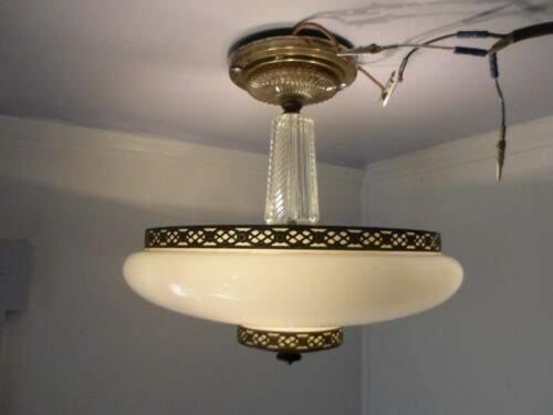 Antique Lincoln Ceiling Light Fixture Semi Flush Crystal Gold Filigree And Glass