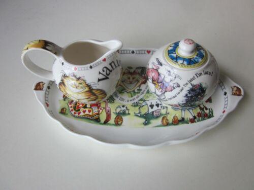 Paul Cardew Alice in Wonderland Sugar Bowl and Creamer on a Tray