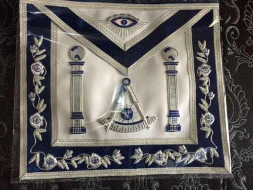 Silver Hand Bullion Past Master Embroidery Aprons No Square Pillars, Masonic Apr