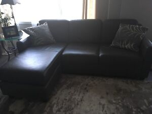 Leather couch and matching area carpet