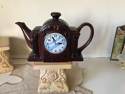 Clock Teapot Brown Tea Time Collection by A.K. Das  made in Japan