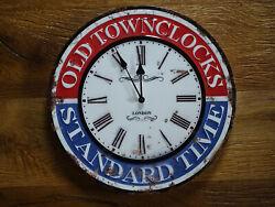 Wall Clock Old Clock Vintage Rust Design Old Townclock London Metal Watch