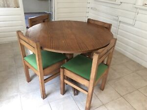 Solid timber dinning table with 4 chairs