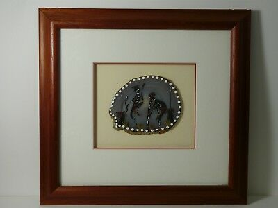 Aboriginal Folk Art Hand Painted Agate Stone Slice Framed Dance Australian VTG