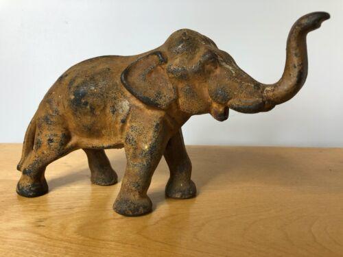 Vintage Antique CAST IRON Elephant doorstop statue trunk up home decor zoo tusk