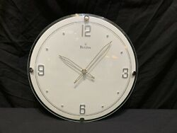 Bulova Round White Face Wall Clock Raised Chrome Numerals & Markers Convex Lens