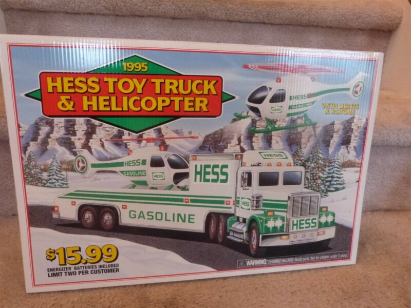 """VINT. 1995 Hess Toy Truck & HELICOPTER Store Display Pump Topper Sign 18""""x12"""""""