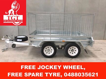 8x5 TANDEM HOT DIP GALVANISED TRAILER, WITH 5 NEW TYRES