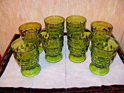 8 Vintage Indiana Glass Goblets ~ Cubist ~ Green