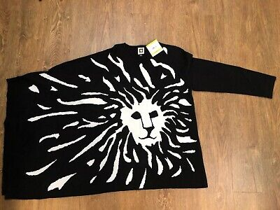 ANNE KLEIN Black Ivory Sweater One Shoulder Cape Size M Lion Head Logo NWT$119