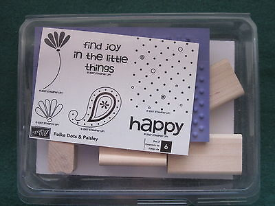 Stampin Up - POLKA DOTS & PAISLEY 6 stamps find joy  happy - UNMOUNTED 2007