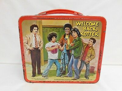 """ALLADIN VINTAGE 1977 """"WELCOME BACK KOTTER"""" METAL LUNCHBOX AND THERMOS"""