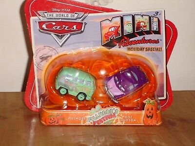 Pixar Cars Halloween Mini Set FILLMORE & Doc Hudson in Pumpkin by Disney Holiday