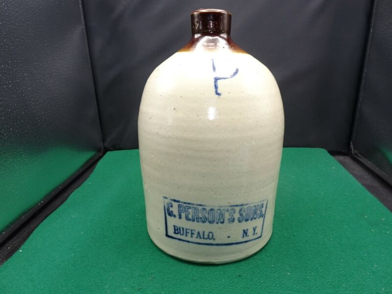 """C. PERSON'S ADVERTISING TWO TONE BROWN STONEWARE JUG 11"""""""