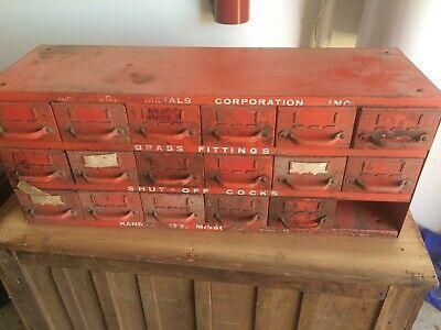 Vintage Anderson Equipto Industrial Red Metal Storage 18 Drawer Parts Cabinet