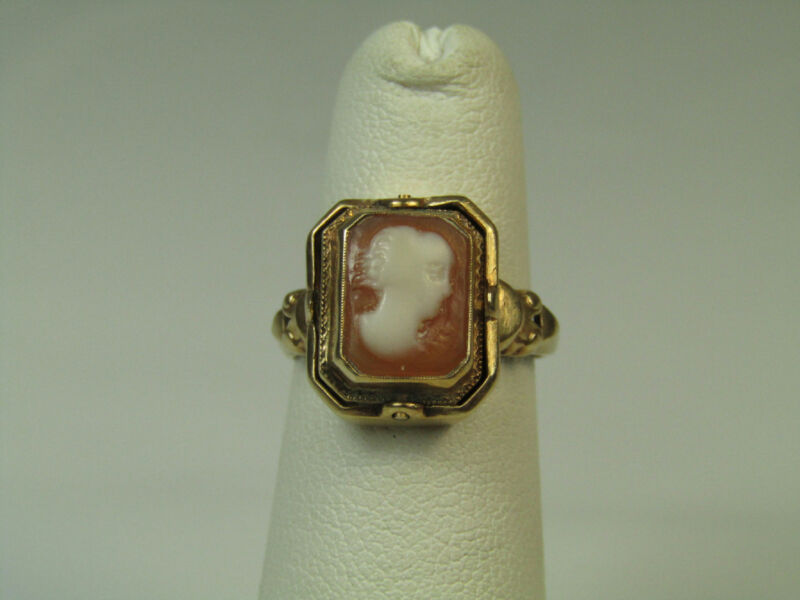 Vintage 10k Yellow Gold Jewelry Ring 4.5 US Reversible Cameo & Tested Diamond