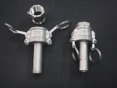 Stainless Steel Cam Lock 34 Npt - 34 Hose Barb Assembly Clay075
