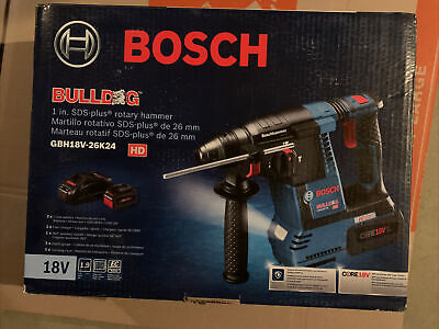 New Bosch Gbh18v-26k24 Sds 18 Volt Rotary Hammer Battery And Charger