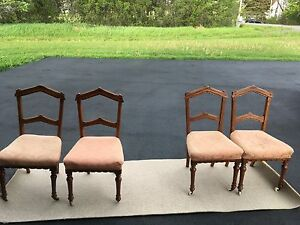 4 Antique Wood Inlay Chairs