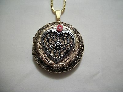 2 TONE HEART NECKLACE PENDANT PICTURE LOCKET ANTQ.GOLD & SILVER PORCELAIN FLOWER