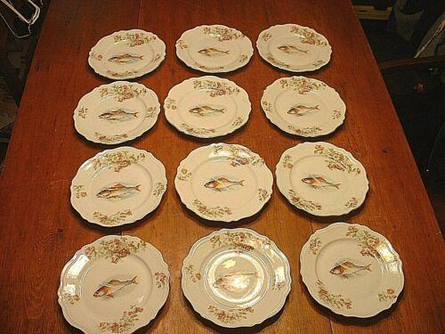 Set of 12 Antique Austrian Royal O & EG Porcelain Fish Plates