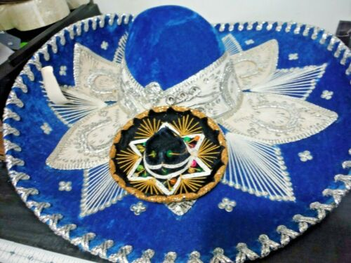 Authentic Mariachi Style Large + Small Pet Sombrero Turquois Salazar Yepez