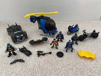 Imaginext DC Super Friends Batman Robin figures Helicopter Car accessories lot