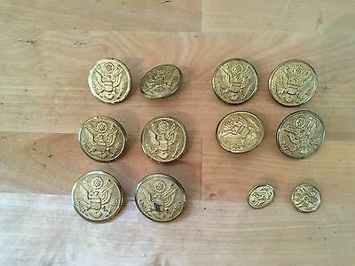 Vintage WWII Technical Sergeant Uniform Brass Buttons Rex Prod Corp - Lot of 12