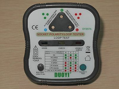 Dy207a Uk Version Electrical Socket Polarity Loop Impedance Rcd Tester