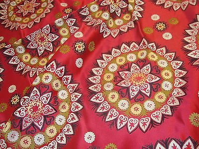 """Near 2 yds MOD SUZANI SPHERE RETRO TAPESTRY Thick FABRIC 54""""  x 70"""" RED 27 oz"""