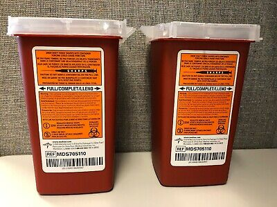 2 Pack-- Medline Sharps Container Biohazard Needle Disposal 1 Qt Size Tattoo