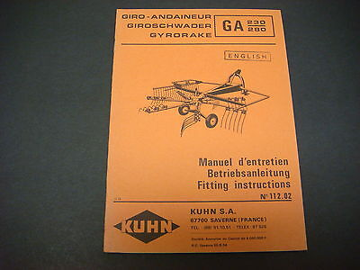 (Kuhn Manual Gyrorake GA 230-280 Fitting Instructions No.112.02)